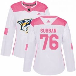 Womens Adidas Nashville Predators 76 PK Subban Authentic WhitePink Fashion NHL Jersey