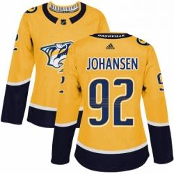 Womens Adidas Nashville Predators 92 Ryan Johansen Authentic Gold Home NHL Jersey