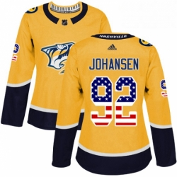Womens Adidas Nashville Predators 92 Ryan Johansen Authentic Gold USA Flag Fashion NHL Jersey
