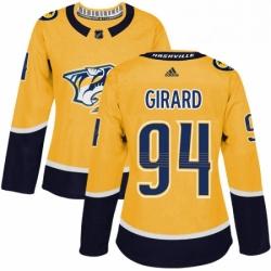 Womens Adidas Nashville Predators 94 Samuel Girard Authentic Gold Home NHL Jersey