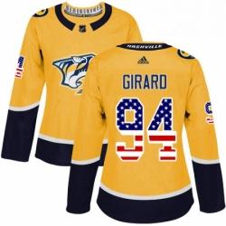 Womens Adidas Nashville Predators 94 Samuel Girard Authentic Gold USA Flag Fashion NHL Jersey