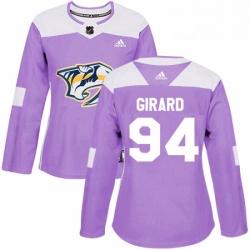Womens Adidas Nashville Predators 94 Samuel Girard Authentic Purple Fights Cancer Practice NHL Jersey