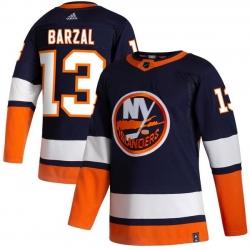 Men New York Islanders 13 Mathew Barzal Navy 2020 21 Reverse Retro Adidas Jersey