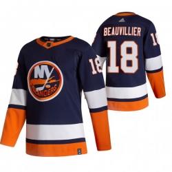 Men New York Islanders 18 Anthony Beauvillier Navy Blue Adidas 2020 21 Reverse Retro Alternate NHL Jersey