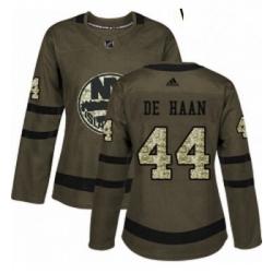 Womens Adidas New York Islanders 44 Calvin de Haan Authentic Green Salute to Service NHL Jersey