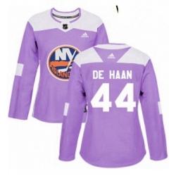 Womens Adidas New York Islanders 44 Calvin de Haan Authentic Purple Fights Cancer Practice NHL Jersey