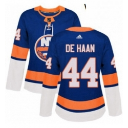 Womens Adidas New York Islanders 44 Calvin de Haan Authentic Royal Blue Home NHL Jersey