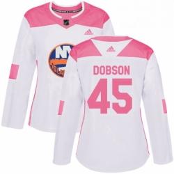 Womens Adidas New York Islanders 45 Noah Dobson Authentic White Pink Fashion NHL Jersey
