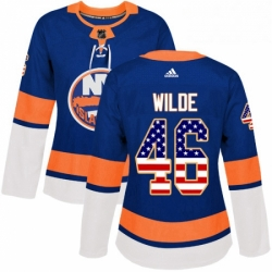 Womens Adidas New York Islanders 46 Bode Wilde Authentic Royal Blue USA Flag Fashion NHL Jersey