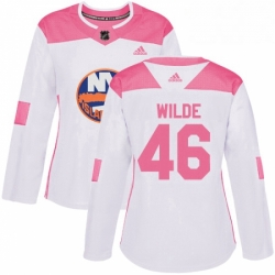 Womens Adidas New York Islanders 46 Bode Wilde Authentic White Pink Fashion NHL Jersey