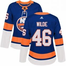 Womens Adidas New York Islanders 46 Bode Wilde Premier Royal Blue Home NHL Jersey