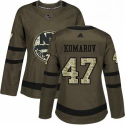 Womens Adidas New York Islanders 47 Leo Komarov Authentic Green Salute to Service NHL Jersey