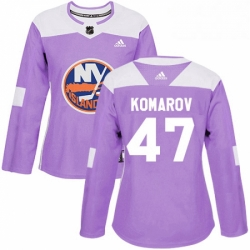 Womens Adidas New York Islanders 47 Leo Komarov Authentic Purple Fights Cancer Practice NHL Jersey