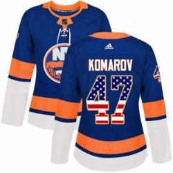 Womens Adidas New York Islanders 47 Leo Komarov Authentic Royal Blue USA Flag Fashion NHL Jersey
