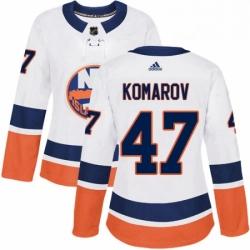 Womens Adidas New York Islanders 47 Leo Komarov Authentic White Away NHL Jersey