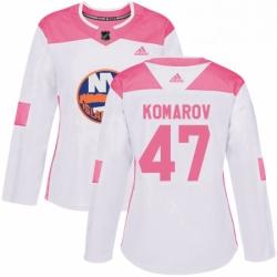 Womens Adidas New York Islanders 47 Leo Komarov Authentic White Pink Fashion NHL Jersey