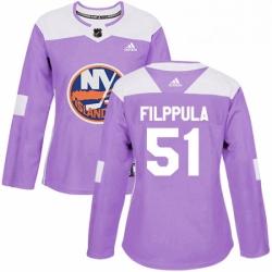 Womens Adidas New York Islanders 51 Valtteri Filppula Authentic Purple Fights Cancer Practice NHL Jersey