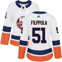 Womens Adidas New York Islanders 51 Valtteri Filppula Authentic White Away NHL Jersey