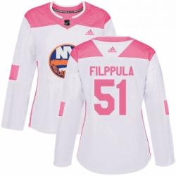 Womens Adidas New York Islanders 51 Valtteri Filppula Authentic White Pink Fashion NHL Jersey