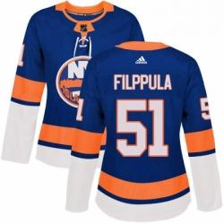 Womens Adidas New York Islanders 51 Valtteri Filppula Premier Royal Blue Home NHL Jersey
