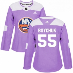 Womens Adidas New York Islanders 55 Johnny Boychuk Authentic Purple Fights Cancer Practice NHL Jersey