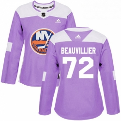 Womens Adidas New York Islanders 72 Anthony Beauvillier Authentic Purple Fights Cancer Practice NHL Jersey