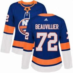 Womens Adidas New York Islanders 72 Anthony Beauvillier Authentic Royal Blue Home NHL Jersey