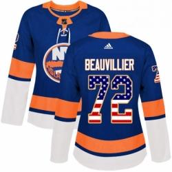 Womens Adidas New York Islanders 72 Anthony Beauvillier Authentic Royal Blue USA Flag Fashion NHL Jersey