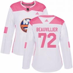 Womens Adidas New York Islanders 72 Anthony Beauvillier Authentic WhitePink Fashion NHL Jersey