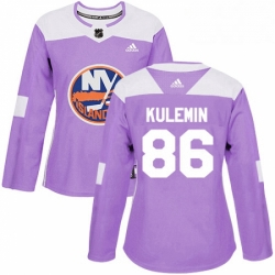 Womens Adidas New York Islanders 86 Nikolay Kulemin Authentic Purple Fights Cancer Practice NHL Jersey