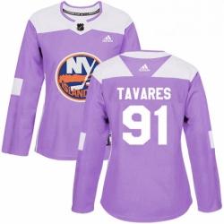 Womens Adidas New York Islanders 91 John Tavares Authentic Purple Fights Cancer Practice NHL Jersey