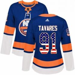 Womens Adidas New York Islanders 91 John Tavares Authentic Royal Blue USA Flag Fashion NHL Jersey