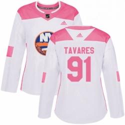 Womens Adidas New York Islanders 91 John Tavares Authentic WhitePink Fashion NHL Jersey