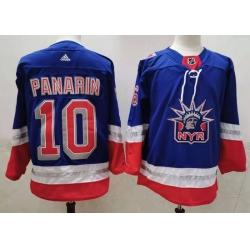 Men New York Rangers 10 Artemi Panarin Light Blue 2021 Retro Stitched NHL Jersey