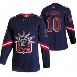 Men New York Rangers 10 Artemi Panarin Navy Adidas 2020 21 Reverse Retro Alternate NHL Jersey