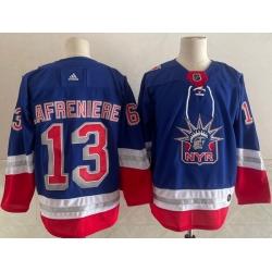 Men New York Rangers 13 Alexis Lafreniere Light Blue 2021 Retro Stitched NHL Jersey