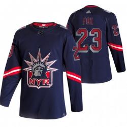 Men New York Rangers 23 Adam Fox Navy Adidas 2020 21 Reverse Retro Alternate NHL Jersey