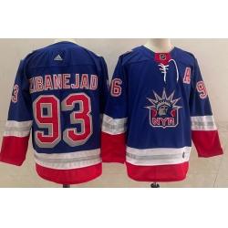 Men New York Rangers 93 Mika Zibanejad Light Blue 2021 Retro Stitched NHL Jersey