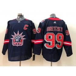 Men New York Rangers Wayne Gretzky 99 Navy 2020 21 Reverse Retro Adidas Jersey