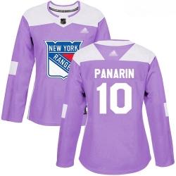 Rangers #10 Artemi Panarin Purple Authentic Fights Cancer Women Stitched Hockey Jersey