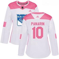Rangers #10 Artemi Panarin White Pink Authentic Fashion Women Stitched Hockey Jersey