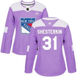 Women Adidas New York Rangers 31 Igor Shesterkin Purple Fights Cancer Practice NHL Jersey