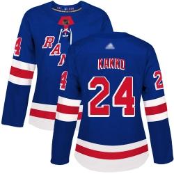 Women Rangers 24 Kaapo Kakko Royal Blue Home Authentic Stitched Hockey Jersey