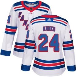 Women Rangers 24 Kaapo Kakko White Road Authentic Stitched Hockey Jersey