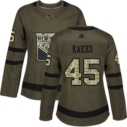 Women Rangers 45 Kaapo Kakko Green Salute to Service Stitched Hockey Jersey