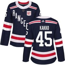 Women Rangers 45 Kaapo Kakko Navy Blue Authentic 2018 Winter Classic Stitched Hockey Jersey