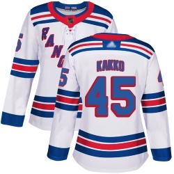 Women Rangers 45 Kaapo Kakko White Road Authentic Stitched Hockey Jersey