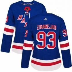 Womens Adidas New York Rangers 93 Mika Zibanejad Authentic Royal Blue Home NHL Jersey