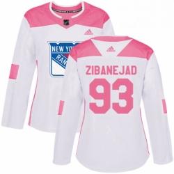 Womens Adidas New York Rangers 93 Mika Zibanejad Authentic WhitePink Fashion NHL Jersey