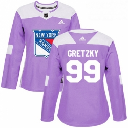 Womens Adidas New York Rangers 99 Wayne Gretzky Authentic Purple Fights Cancer Practice NHL Jersey